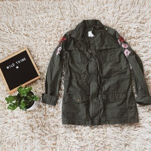 Utility jacket with floral embroidery boho